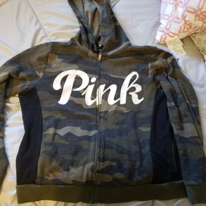 Camo PINK size large zip up hoodie